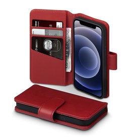 Qubits Qubits - luxe echt lederen wallet hoes - iPhone 12 Mini - Rood