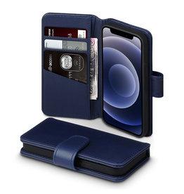 Qubits Qubits - luxe echt lederen wallet hoes - iPhone 12 Mini - Blauw