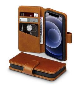 Qubits Qubits - luxe echt lederen wallet hoes - iPhone 12 Mini - Cognac