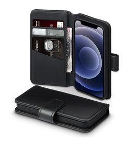 Qubits Qubits - luxe echt lederen wallet hoes - iPhone 12 Mini - Zwart