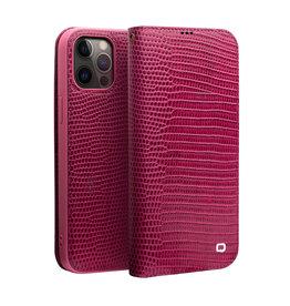 Qialino Qialino - echt lederen luxe wallet hoes - iPhone 12 Pro Max - Croco Roze