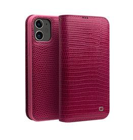 Qialino Qialino - echt lederen luxe wallet hoes - iPhone 12 Mini - Croco Roze