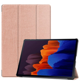 Lunso 3-Vouw sleepcover hoes - Samsung Galaxy Tab S7 Plus - Rose Goud