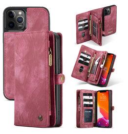Caseme Caseme - vintage 2 in 1 portemonnee hoes - iPhone 12 Pro Max - Rood