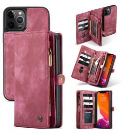Caseme Caseme - vintage 2 in 1 portemonnee hoes - iPhone 12 / iPhone 12 Pro - Rood