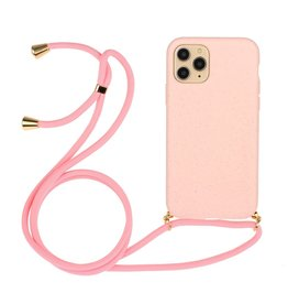 Lunso Lunso - Backcover hoes met koord - iPhone 12 / iPhone 12 Pro - Roze