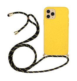 Lunso Lunso - Backcover hoes met koord - iPhone 12 Mini - Geel