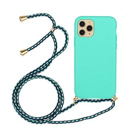 Lunso Lunso - Backcover hoes met koord - iPhone 12 Mini - Cyaan