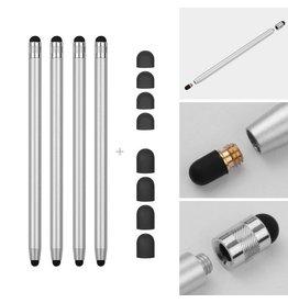 Lunso 4 stuks - Stylus touchscreen pennetjes - Zilver