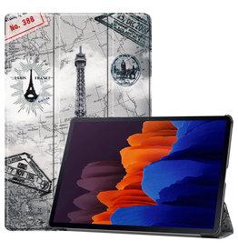 Lunso 3-Vouw sleepcover hoes - Samsung Galaxy Tab S7 Plus - Eiffeltoren