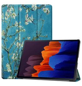 Lunso 3-Vouw sleepcover hoes - Samsung Galaxy Tab S7 Plus - Van Gogh Amandelboom