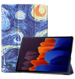 Lunso 3-Vouw sleepcover hoes - Samsung Galaxy Tab S7 Plus - Van Gogh Schilderij