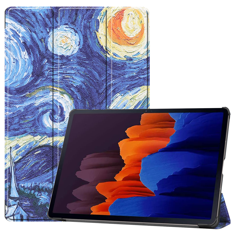 Lunso 3-Vouw sleepcover hoes Van Gogh Schilderij  voor de Samsung Galaxy Tab S7 Plus