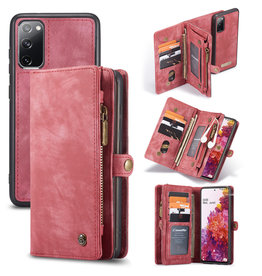 Caseme Caseme - vintage 2 in 1 portemonnee hoes - Samsung Galaxy S20 FE- Rood