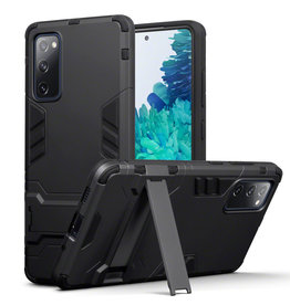 Qubits Qubits - Double Armor Layer hoes met stand - Samsung Galaxy S20 FE - Zwart