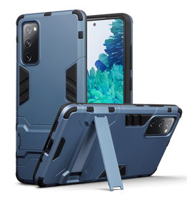 Qubits Qubits - Double Armor Layer hoes met stand - Samsung Galaxy S20 FE - Blauw