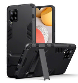 Qubits Qubits - Double Armor Layer hoes met stand - Samsung Galaxy A42 - Zwart