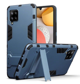 Qubits Qubits - Double Armor Layer hoes met stand - Samsung Galaxy A42 - Blauw