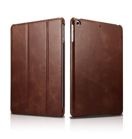 Icarer - 3-Vouw echt lederen sleepcover hoes - iPad 9.7 (2017/2018) / Pro 9.7 / Air / Air 2 - Cognac