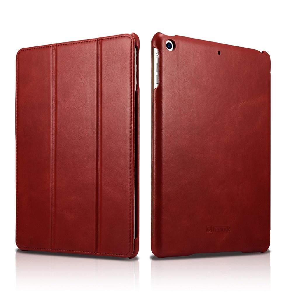 Icarer - 3-Vouw echt lederen sleepcover hoes - iPad 9.7 (2017/2018) / Pro 9.7 / Air / Air 2 - Rood