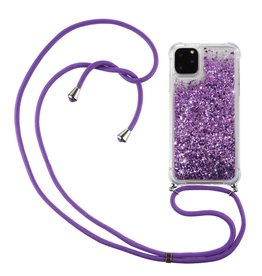 Lunso Lunso - Backcover hoes met koord - iPhone 12 Pro Max - Glitter Paars