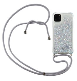 Lunso Lunso - Backcover hoes met koord - iPhone 12 / iPhone 12 Pro - Glitter Zilver