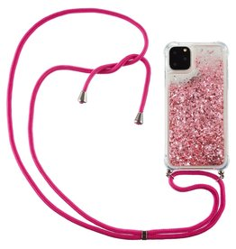 Lunso Lunso - Backcover hoes met koord - iPhone 12 / iPhone 12 Pro - Glitter Roze