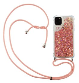 Lunso Lunso - Backcover hoes met koord - iPhone 12 / iPhone 12 Pro - Glitter Rose Goud