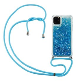 Lunso Lunso - Backcover hoes met koord - iPhone 12 / iPhone 12 Pro - Glitter Blauw
