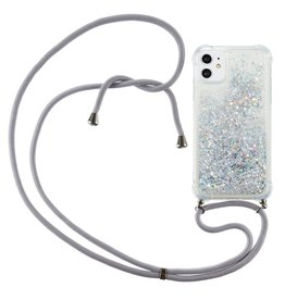 Lunso Lunso - Backcover hoes met koord - iPhone 12 Mini - Glitter Zilver