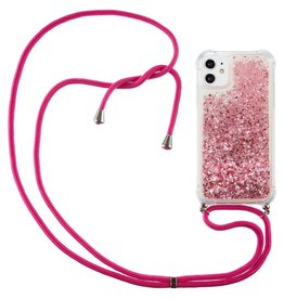 Lunso Lunso - Backcover hoes met koord - iPhone 12 Mini - Glitter Roze