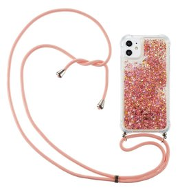 Lunso Lunso - Backcover hoes met koord - iPhone 12 Mini - Glitter Rose Goud