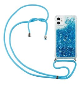 Lunso Lunso - Backcover hoes met koord - iPhone 12 Mini - Glitter Blauw