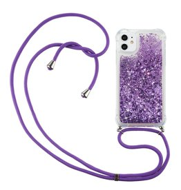 Lunso Lunso - Backcover hoes met koord - iPhone 12 Mini - Glitter Paars