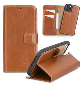 NorthLife NorthLife - Uitneembare 2-in-1 (RFID) bookcase hoes - iPhone 12 Pro Max - Burcht Trecht Cognac