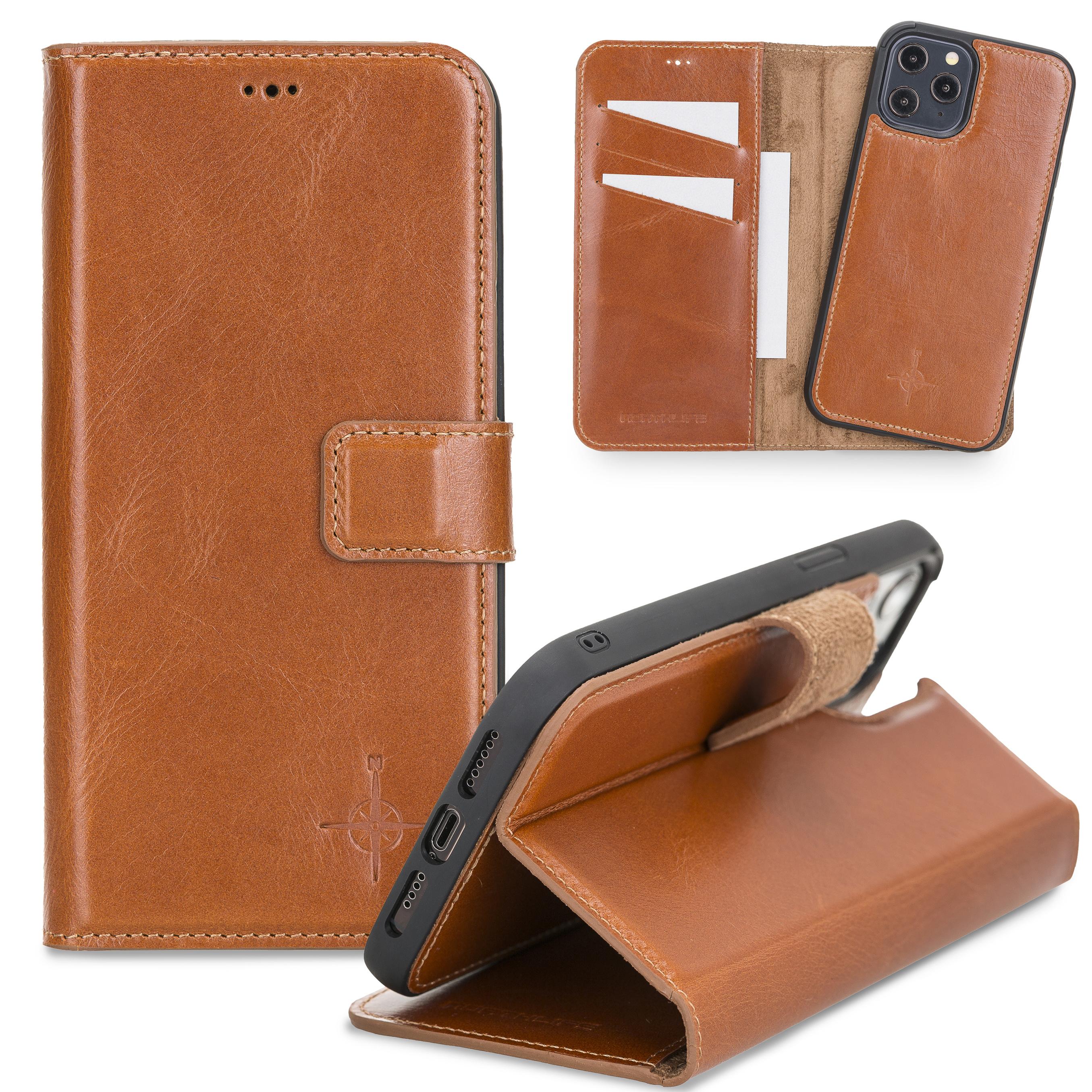 NorthLife Echt lederen uitneembare 2-in-1 (RFID) bookcase hoes Burcht Trecht Cognac voor de iPhone 12 Pro Max