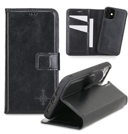 NorthLife NorthLife - Uitneembare 2-in-1 (RFID) bookcase hoes - iPhone 12 Mini - Burcht Trecht Zwart
