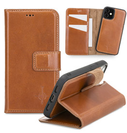 NorthLife NorthLife - Uitneembare 2-in-1 (RFID) bookcase hoes - iPhone 12 Mini - Burcht Trecht Cognac