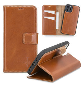 NorthLife NorthLife - Uitneembare 2-in-1 (RFID) bookcase hoes - iPhone 12 / 12 Pro - Burcht Trecht Cognac