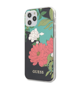Guess Guess - backcover hoes - iPhone 12 / iPhone 12 Pro - Floral No. 1 + Lunso Tempered Glass
