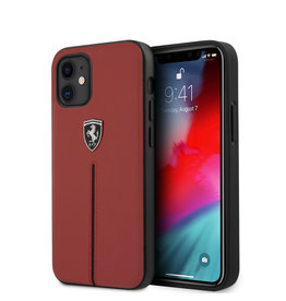 Ferrari Ferrari Scuderia - Lederen backcover hoes - iPhone 12 Mini - Rood + Lunso Tempered Glass