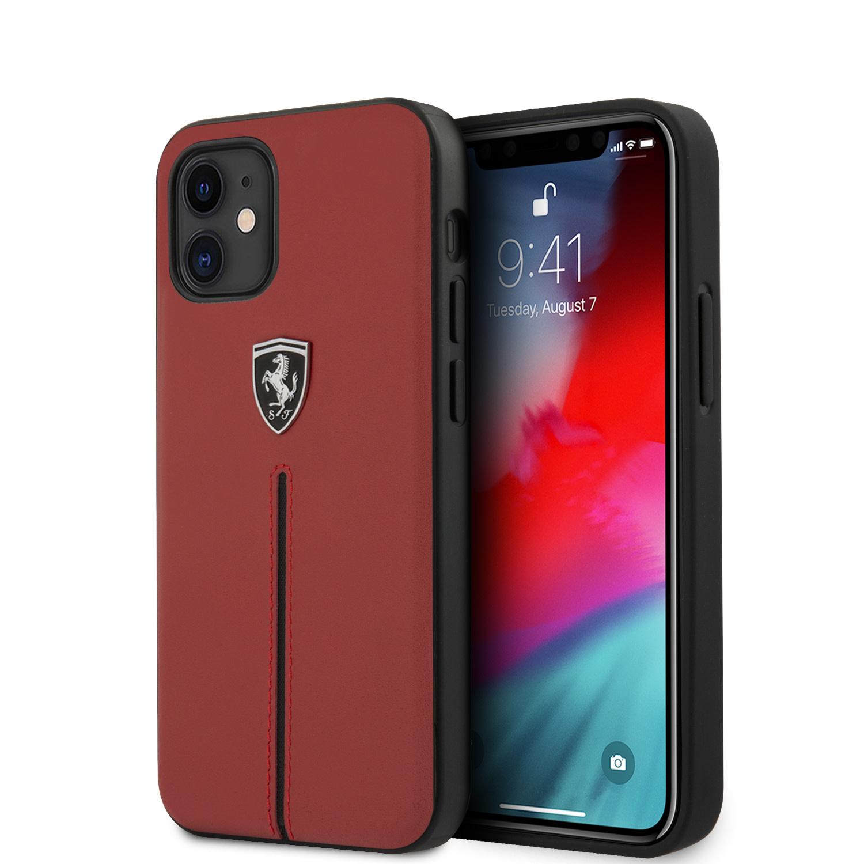 Ferrari Lederen backcover hoes Rood voor de iPhone 12 Mini