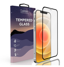 Lunso Lunso - Gehard Beschermglas - Full Cover Tempered Glass - iPhone 12 / iPhone 12 Pro - Black Edge