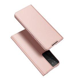 Dux Ducis Dux Ducis - Pro Serie Slim wallet hoes - Samsung Galaxy S21 Ultra - Rose Goud