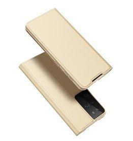 Dux Ducis Dux Ducis - Pro Serie Slim wallet hoes - Samsung Galaxy S21 Ultra - Goud