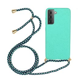 Lunso Lunso - Backcover hoes met koord - Samsung Galaxy S21 - Cyaan