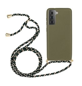 Lunso Lunso - Backcover hoes met koord - Samsung Galaxy S21 - Army Groen