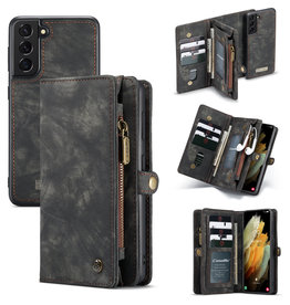 Caseme Caseme - vintage 2 in 1 portemonnee hoes - Samsung Galaxy S21 - Zwart