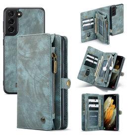 Caseme Caseme - vintage 2 in 1 portemonnee hoes - Samsung Galaxy S21 - Blauw