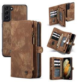 Caseme Caseme - vintage 2 in 1 portemonnee hoes - Samsung Galaxy S21 Plus - Bruin